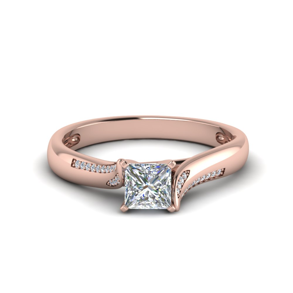 princess cut beautiful twisted diamond engagement ring in 14K rose gold FDO50859PRR NL RG