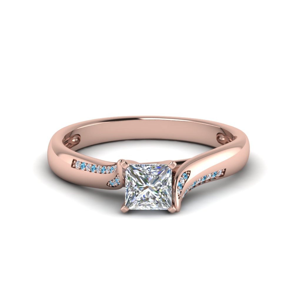princess cut beautiful twisted diamond engagement ring with ice blue topaz in 14K rose gold FDO50859PRRGICBLTO NL RG