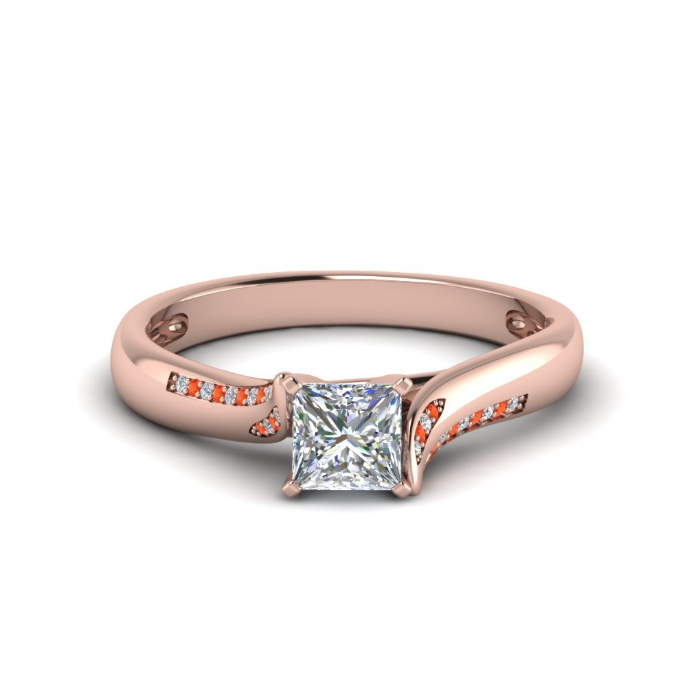 princess cut beautiful twisted diamond engagement ring with poppy topaz in 14K rose gold FDO50859PRRGPOTO NL RG