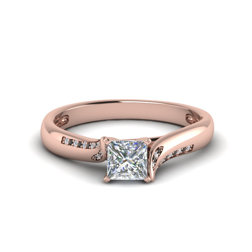 princess cut beautiful twisted engagement ring with black diamond in 14K rose gold FDO50859PRRGBLACK NL RG
