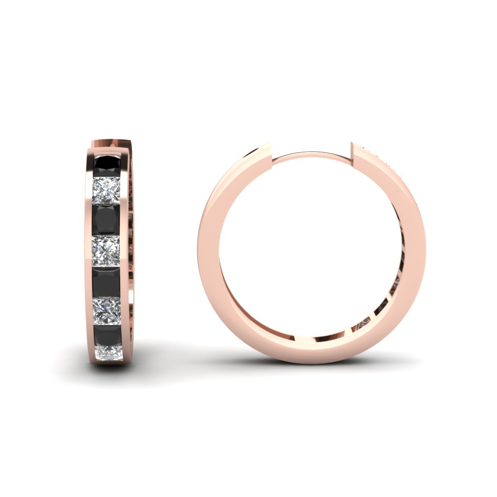 Princess Cut Black Diamond Charismatic Hoops Earrings With