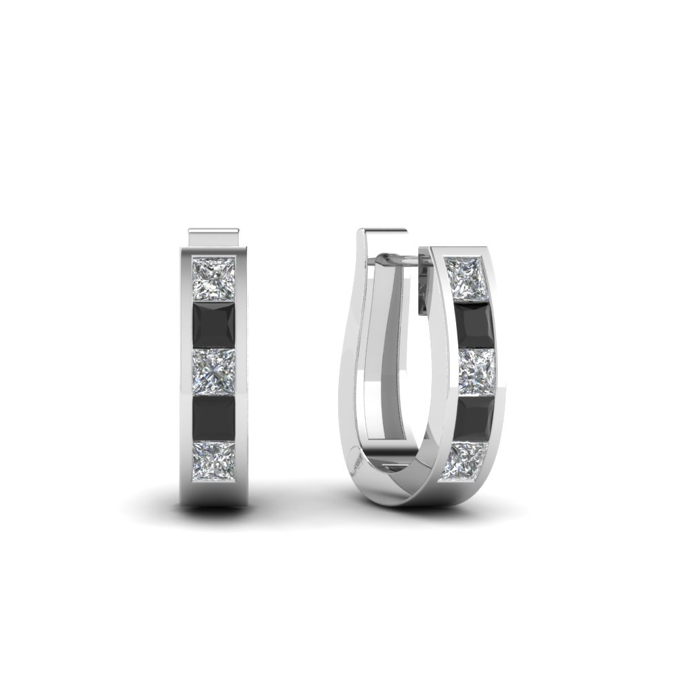 Hoop Huggie Black Diamond Earring