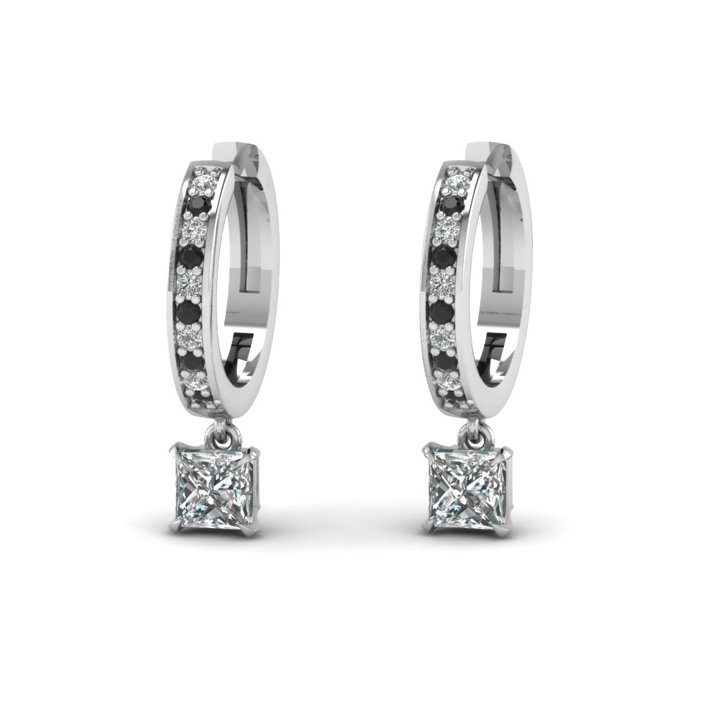 Princess Cut Drop Hoop Earring With Black Diamond In Fdear1161prgblack Nl Wg Add To Cart