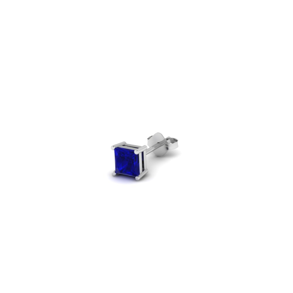 Princess Cut Blue Shire Mens Earrings In 14k White Gold Fdms4prgsabl10ct Nl Wg