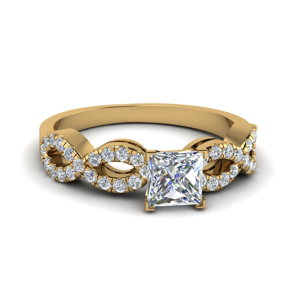 Square Braided Diamond Band Split Ring