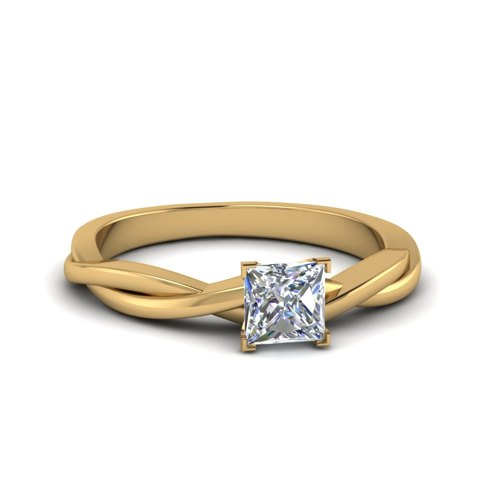 princess cut braided single diamond engagement ring in 14K yellow gold FD8252PRR NL YG