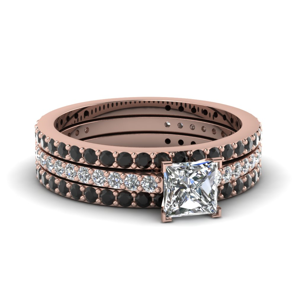 Princess Cut Eternity Trio Wedding Ring Set With Black Diamond In 14k Rose Gold Fdens1425tprgblack Nl: Black Wedding Bands Ring Set At Websimilar.org