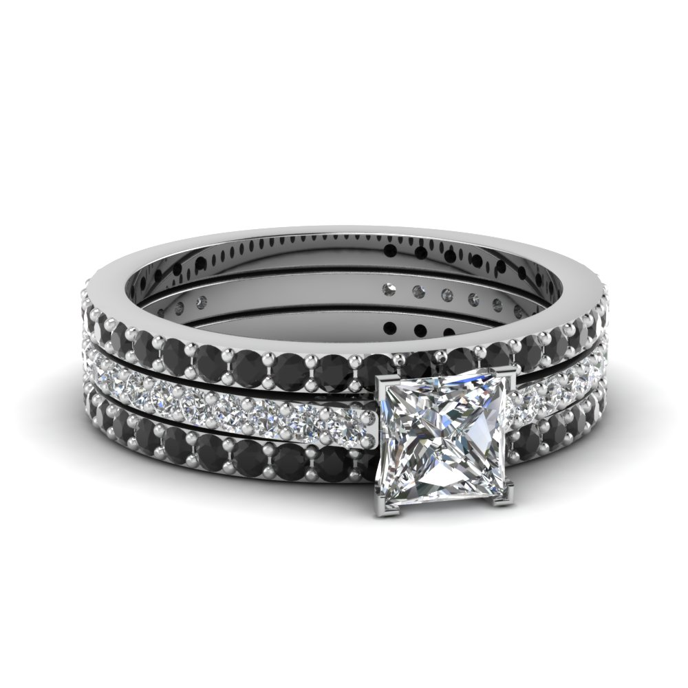 princess cut bridal diamond wedding ring sets with black