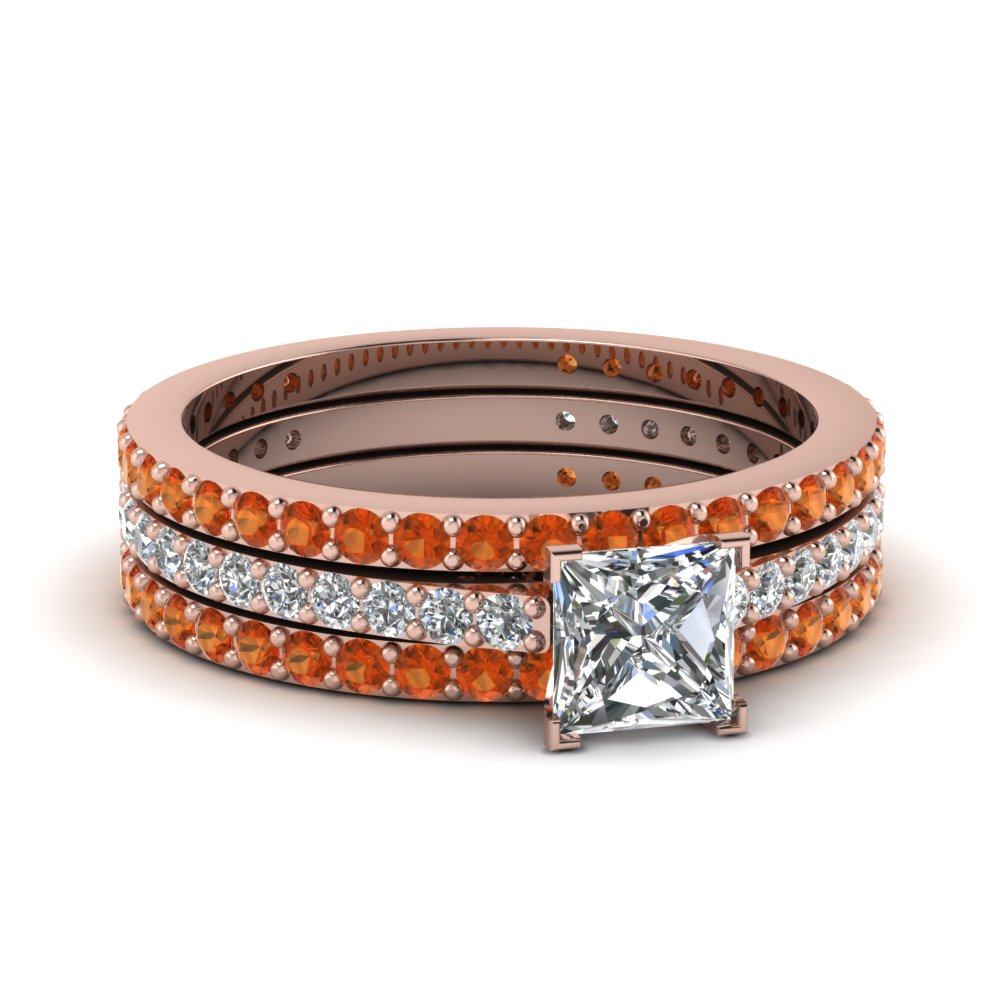 princess cut diamond eternity trio wedding ring set with orange sapphire in 14K rose gold FDENS1425TPRGSAOR NL RG