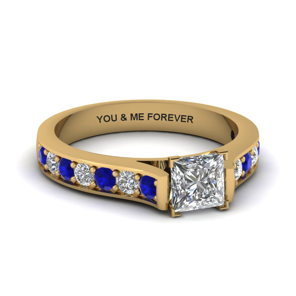 princess cut cathedral pave engraveable diamond ring with blue sapphire in FDENS1102PRRG EGSABL NL YG EG