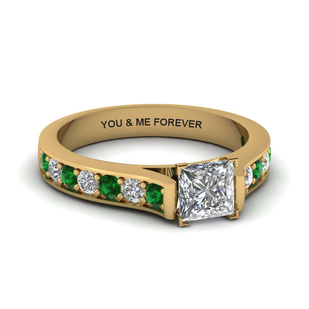 princess cut cathedral pave engraveable diamond ring with emerald in FDENS1102PRRG EGEMGR NL YG EG