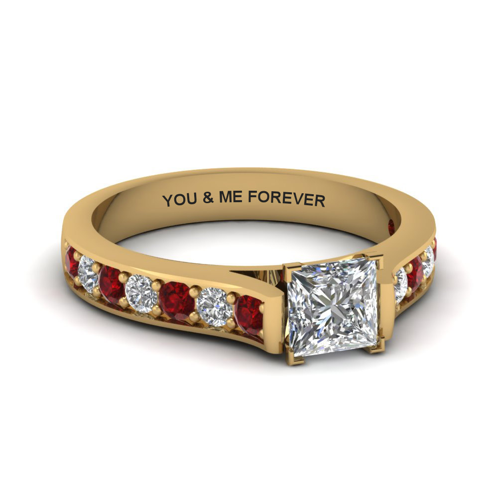 Cathedral Engravable Diamond Ring