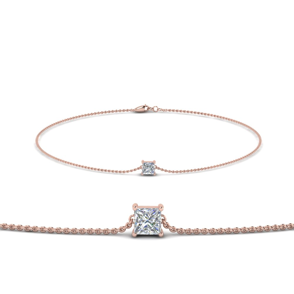 Princess Diamond Chain Bracelet In 18K Rose Gold
