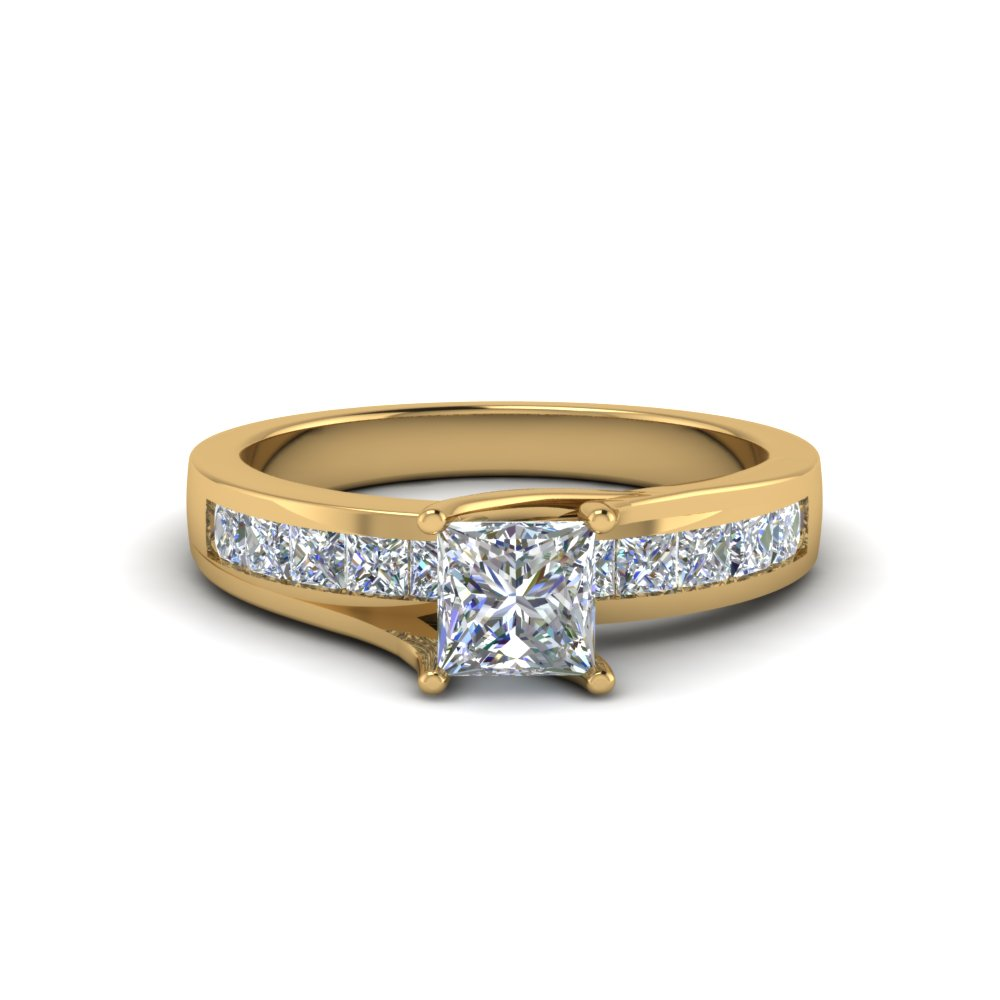 princess cut channel accent diamond engagement ring in FDENR7776PRR NL YG