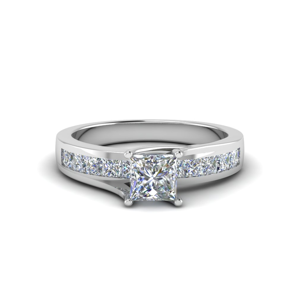 princess cut channel accent diamond engagement ring in FDENR7776PRR NL WG