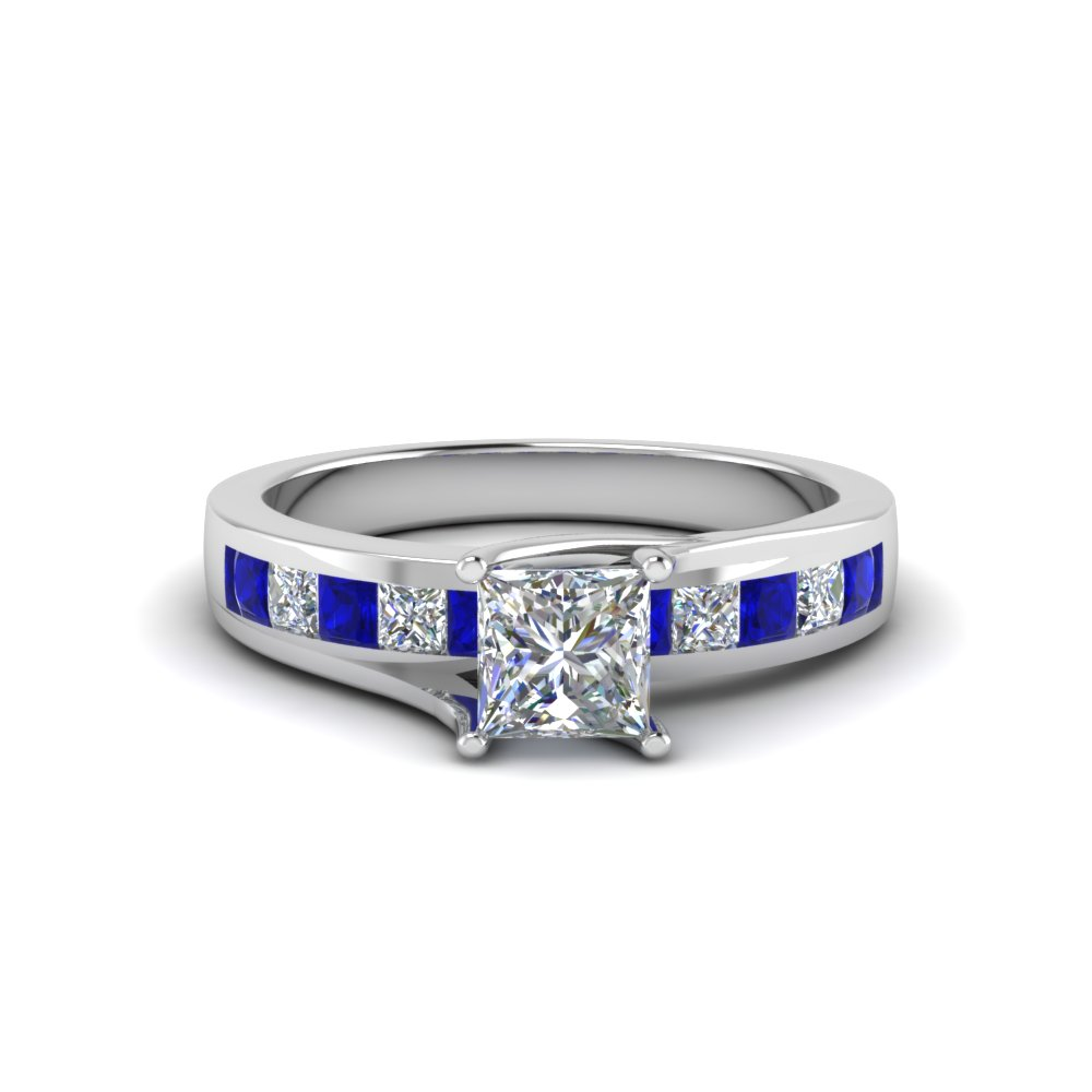 princess cut channel accent diamond engagement ring with blue sapphire in FDENR7776PRRGSABL NL WG