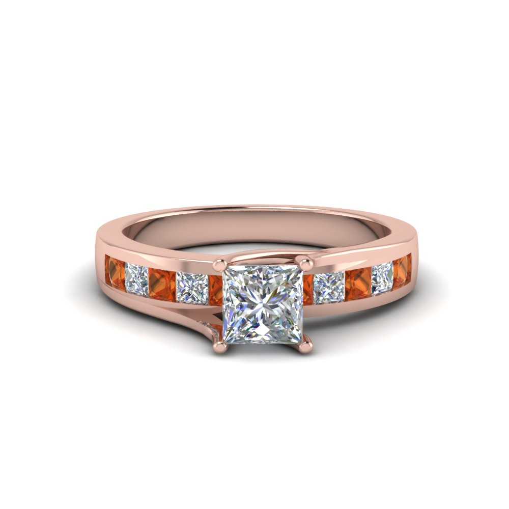 Orange Sapphire Channel Diamond Ring