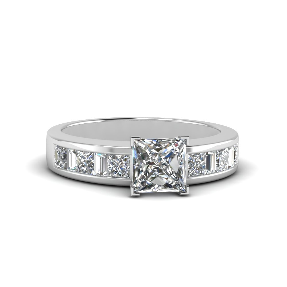 princess cut channel baguette and princess accent diamond engagement ring in FDENS350PRR NL WG