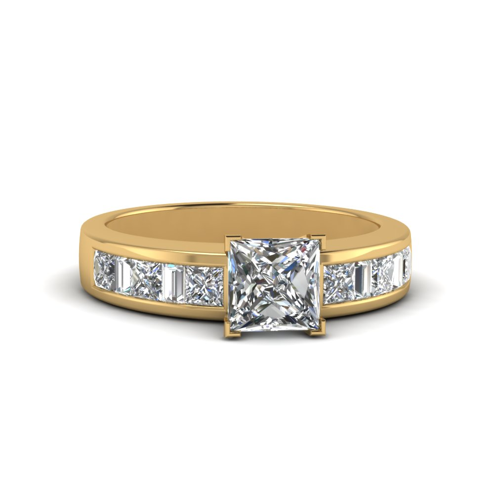 princess cut channel baguette and princess accent diamond engagement ring in FDENS350PRR NL YG