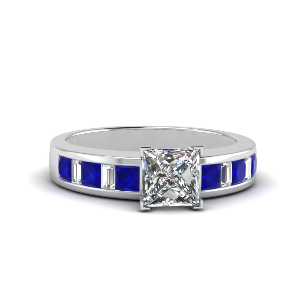 princess cut channel baguette and princess accent diamond engagement ring with blue sapphire in FDENS350PRRGSABL NL WG