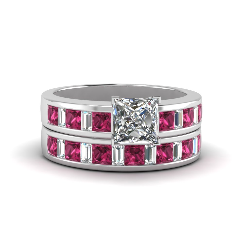 princess cut channel baguette and princess accent diamond wedding set with pink sapphire in fdens350prgsadrpi nl