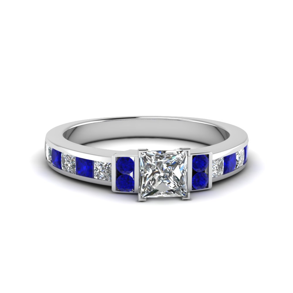 princess cut channel bar set diamond engagement ring for women with blue sapphire in FDENR989PRRGSABL NL WG