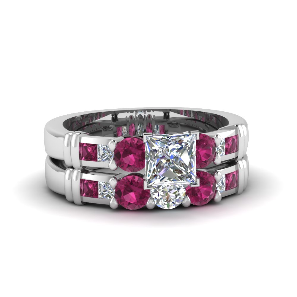 princess cut channel bar set diamond wedding ring sets with pink sapphire in 14K white gold FDENS286PRGSADRPI NL WG