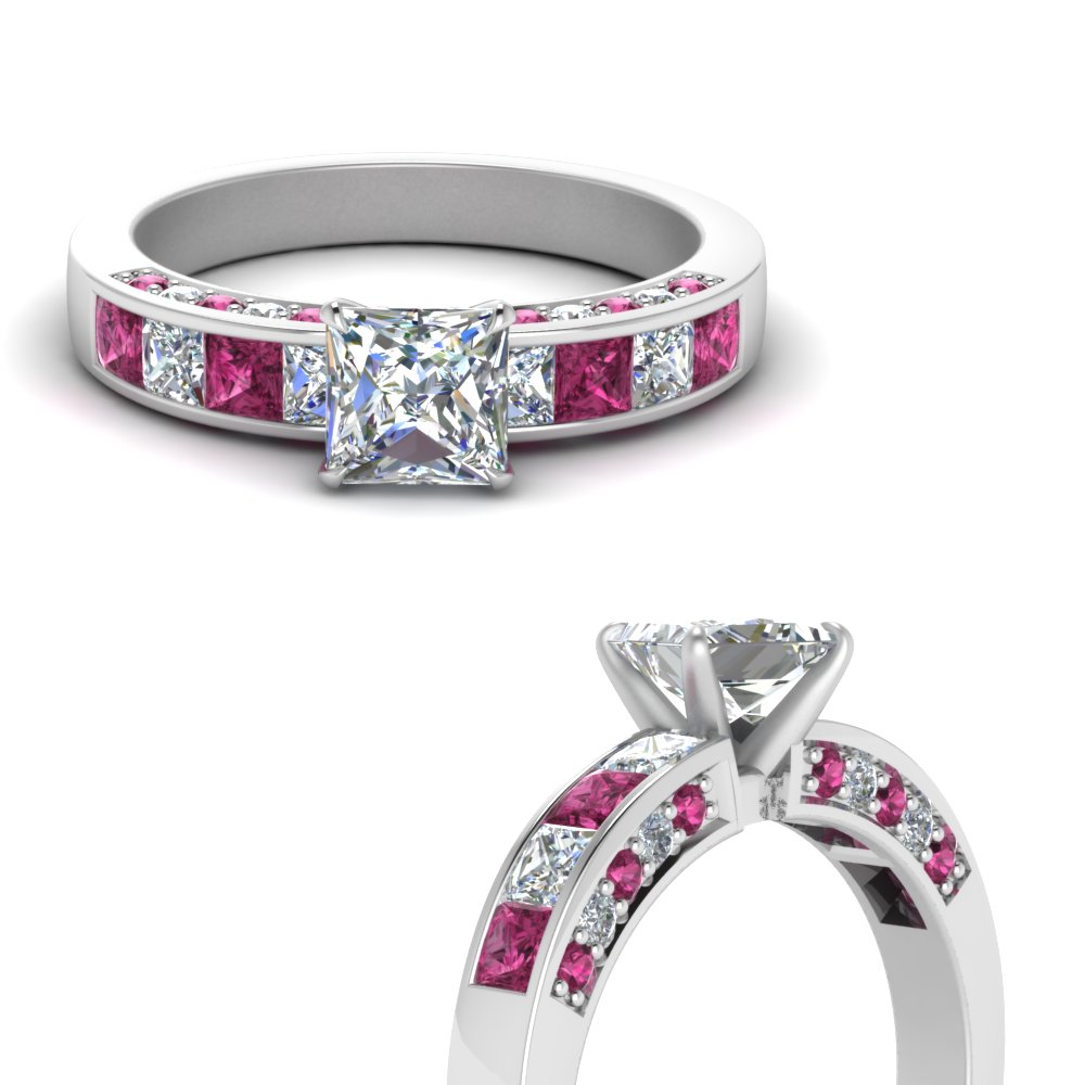 princess cut channel moissanite engagement ring with pink sapphire in FDENS198PRRGSADRPIANGLE3 NL WG.jpg
