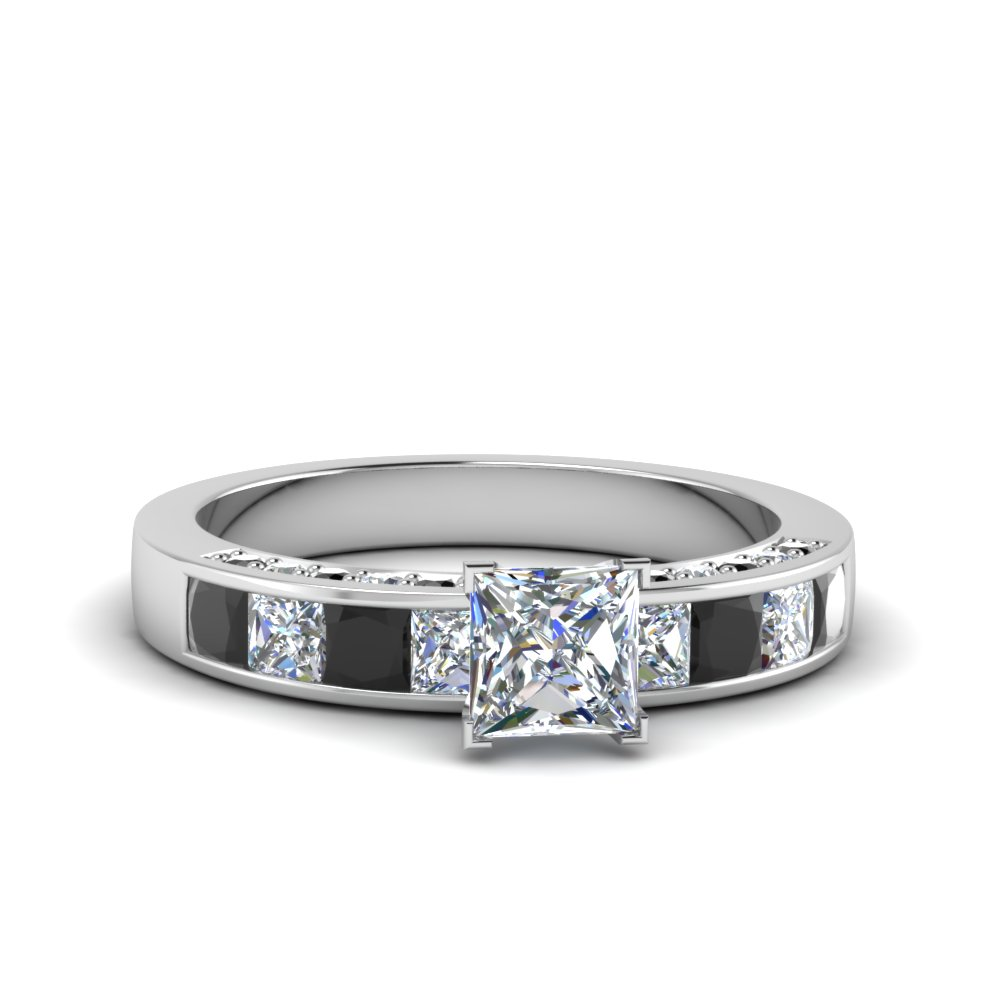 princess cut channel engagement ring with black diamond in 14K white gold FDENS198PRRGBLACK NL WG