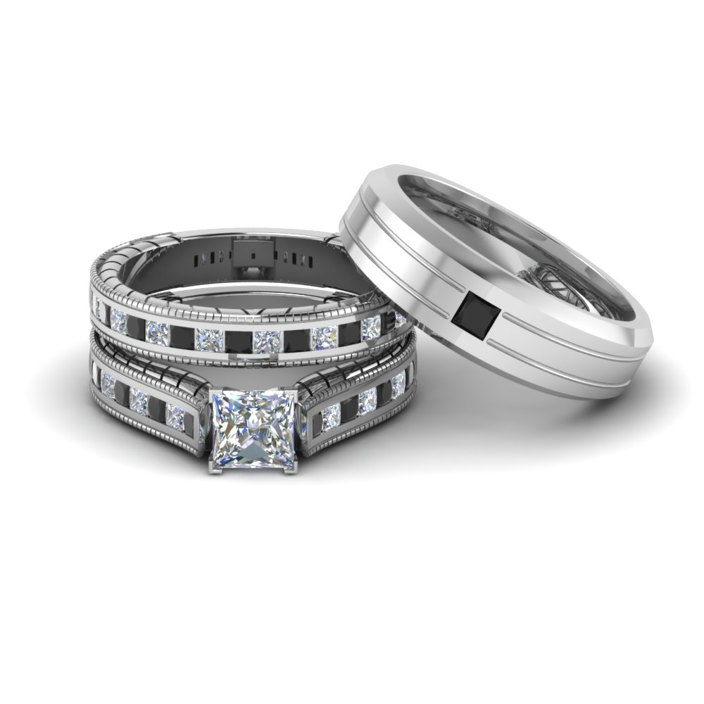 Princess Cut Black Diamond Trio Set