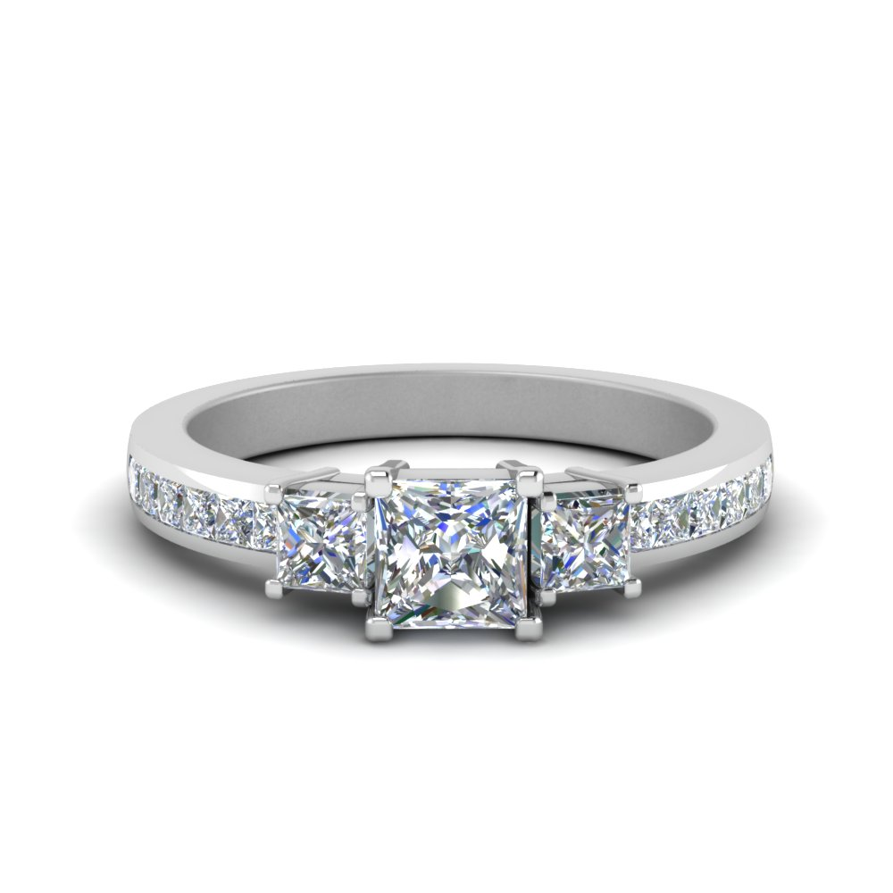 1.50 ct. diamond channel set 3 stone engagement ring in FDENR6000PRR NL WG