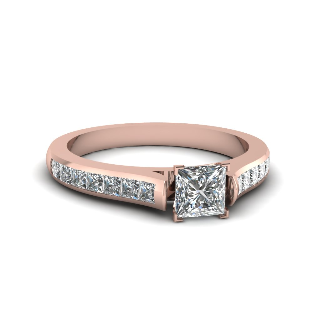 Pink Gold Princess Cut Diamond Engagement Ring