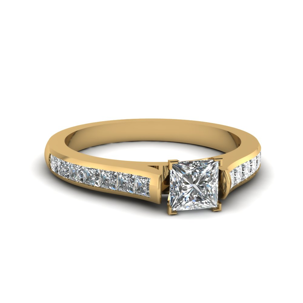 princess cut cathedral channel set diamond engagement ring in FDENS877PRR NL YG 30
