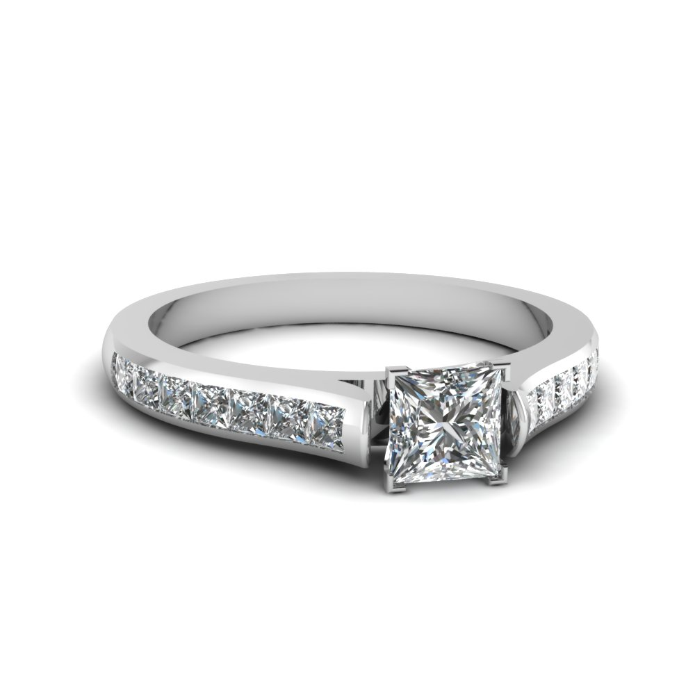 princess cut cathedral channel set diamond engagement ring in FDENS877PRR NL WG 30