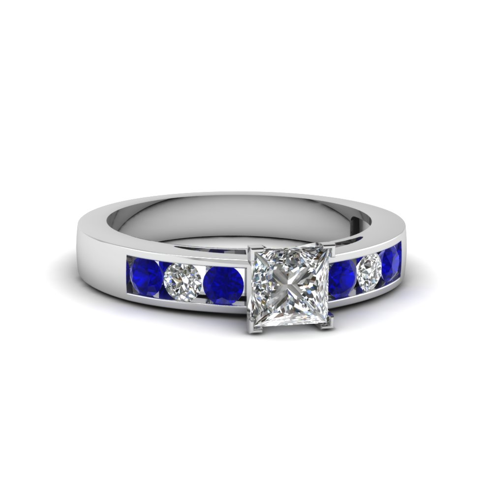princess cut channel set diamond engagement ring with blue sapphire in 14K white gold FDENS161PRRGSABL NL WG