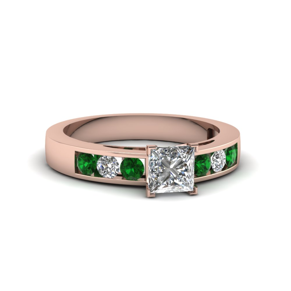 princess cut channel set diamond engagement ring with emerald in 14K rose gold FDENS161PRRGEMGR NL RG