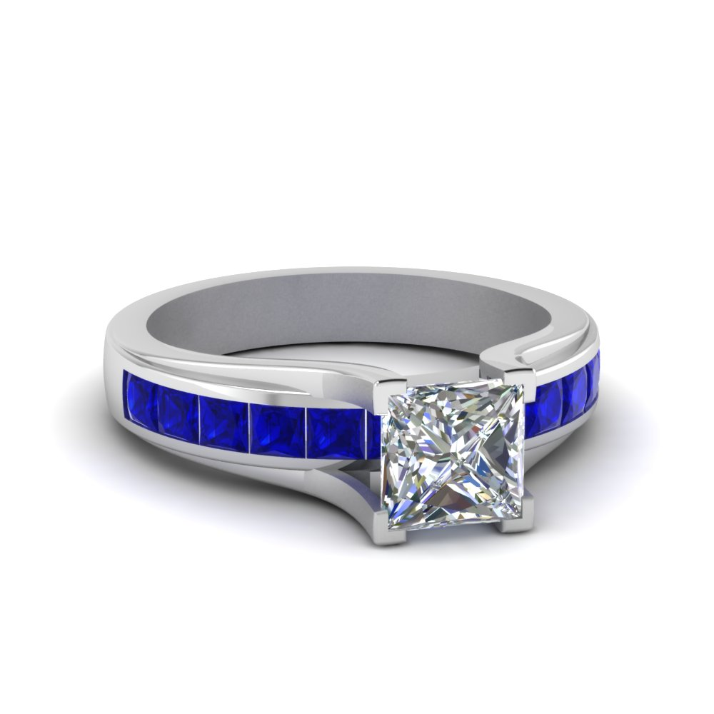 Channel Set Sapphire Engagement Ring