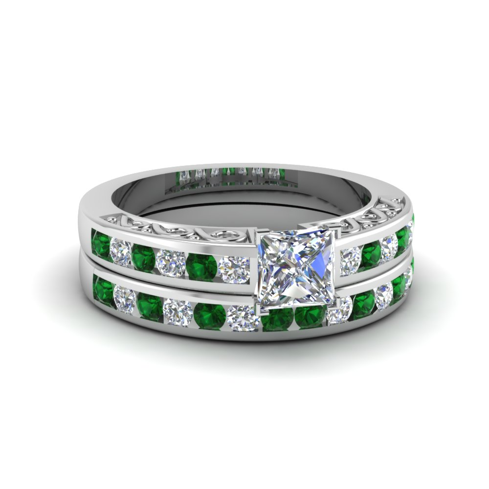 princess cut channel set diamond vintage wedding ring sets with emerald in 14K white gold FDENS817PRGEMGR NL WG
