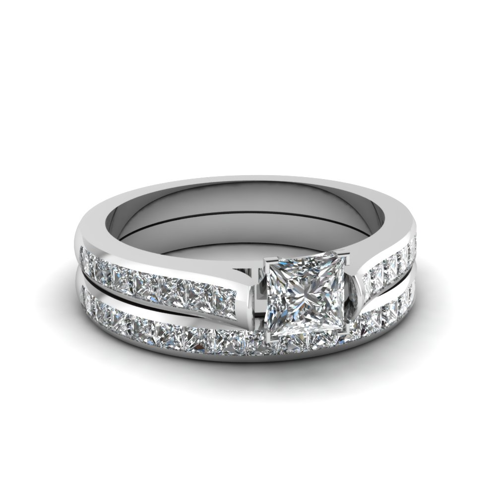 Princess Cut Diamond Wedding Ring Sets With White Diamond In 14k White Gold