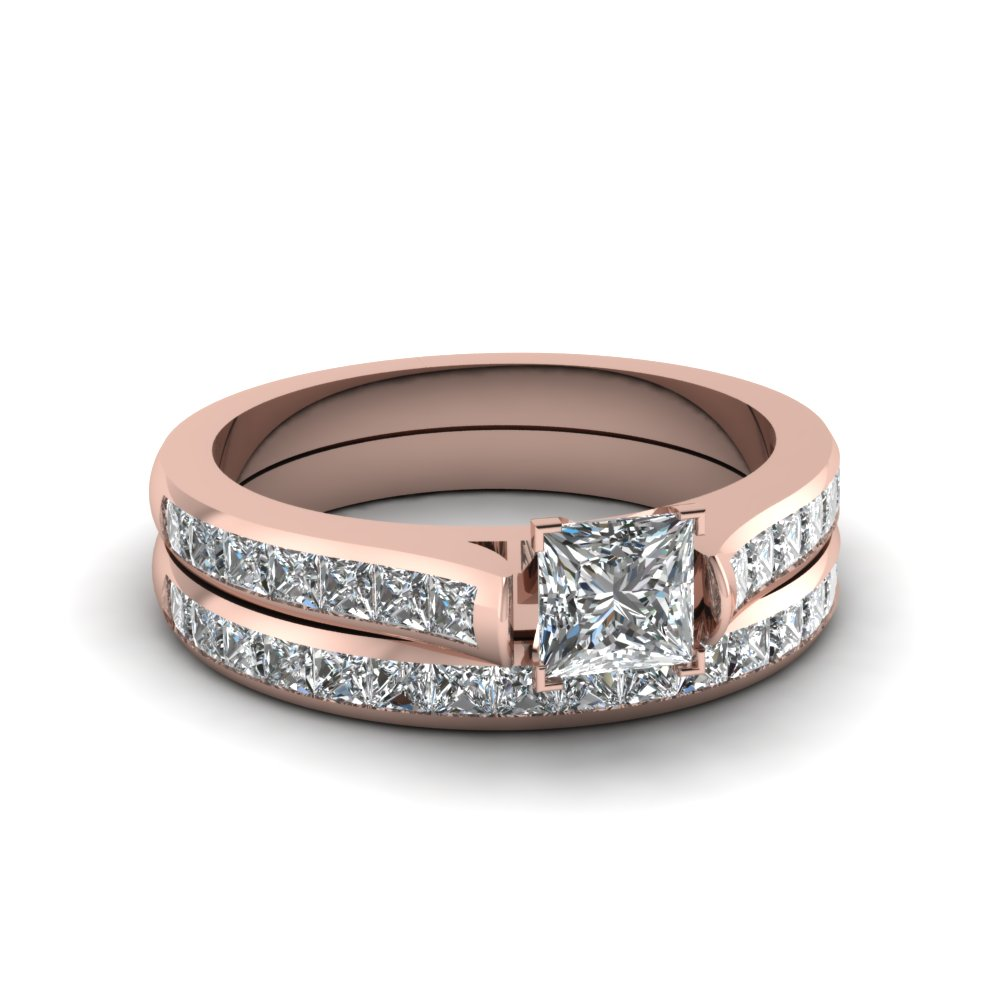 princess cut channel set diamond wedding ring sets in 18K rose gold FDENS877PR NL RG 30