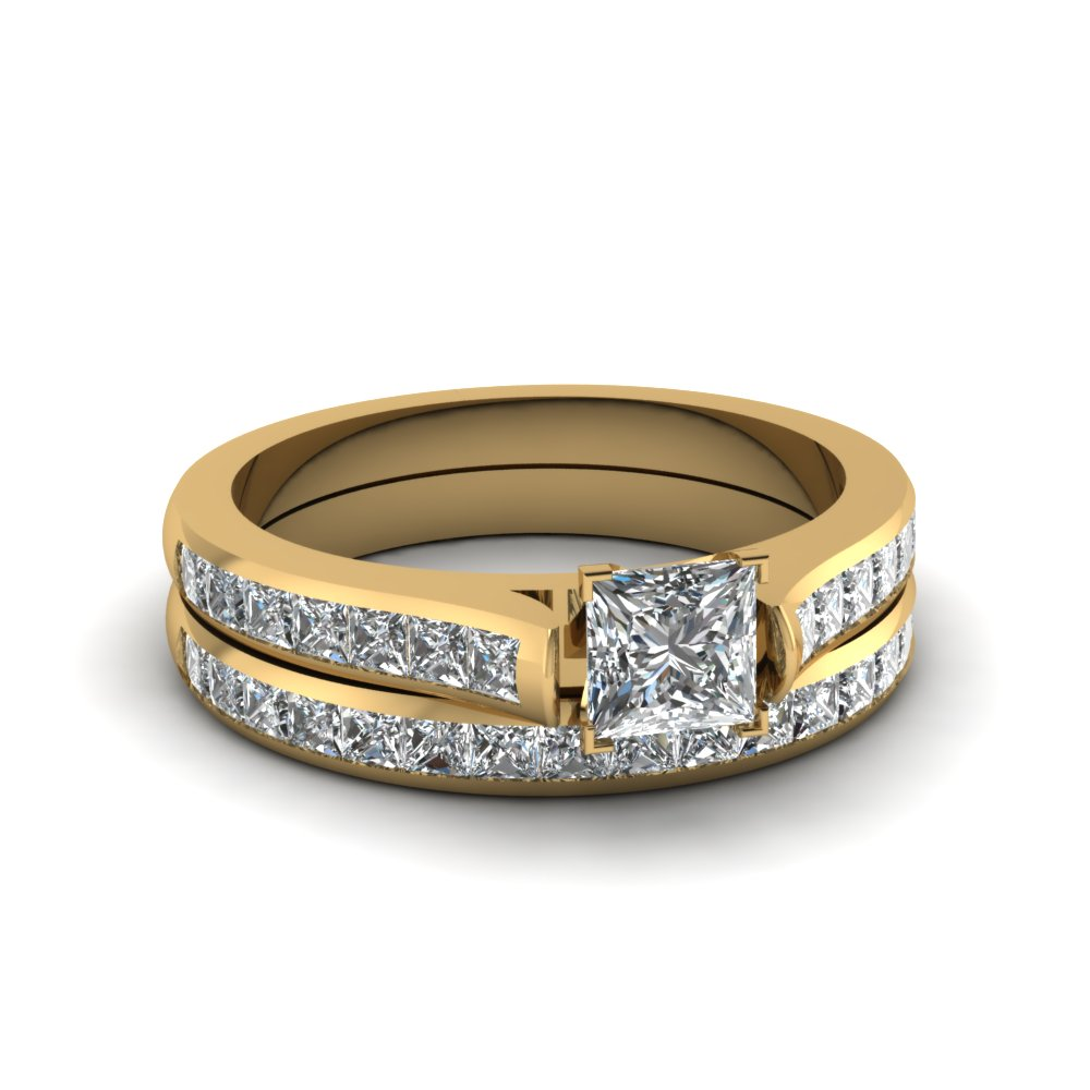 Princess cut channel set diamond wedding ring sets in 18k for 18k gold wedding ring set