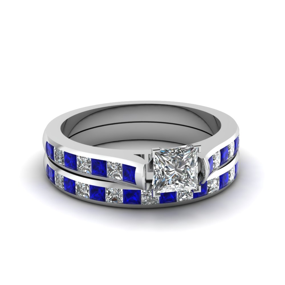 princess cut channel set diamond wedding ring sets with blue sapphire in 14K white gold FDENS877PRGSABL NL WG 30