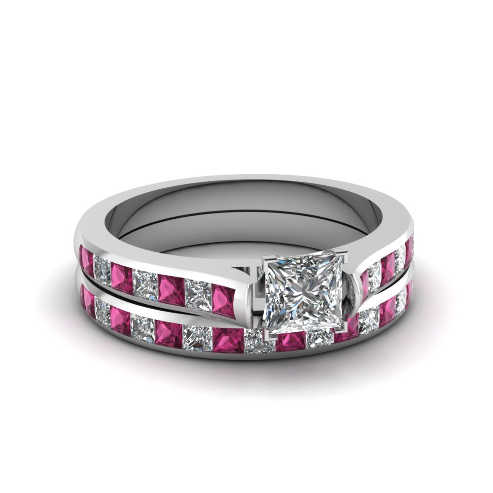 princess cut channel set diamond wedding ring sets with pink sapphire in 14K white gold FDENS877PRGSADRPI NL WG 30