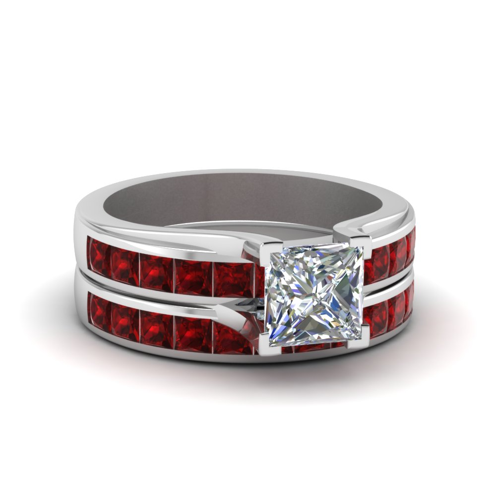 princess cut channel set ruby wedding set in FD1048PRGRUDR NL WG