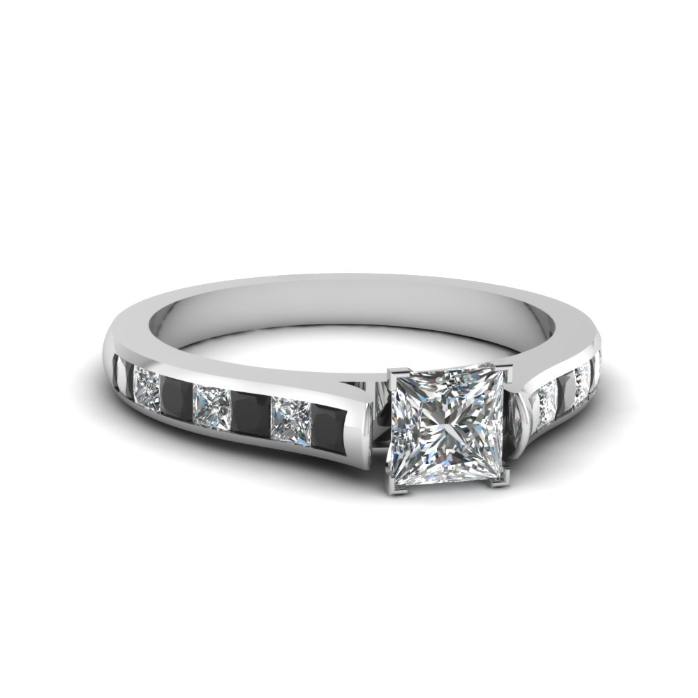 princess cut cathedral channel set engagement ring with black diamond in 18K white gold FDENS877PRRGBLACK NL WG 30