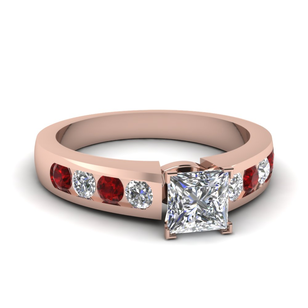 princess cut diamond channel set engagement ring with ruby in FDENR1274PRRGRUDR NL RG
