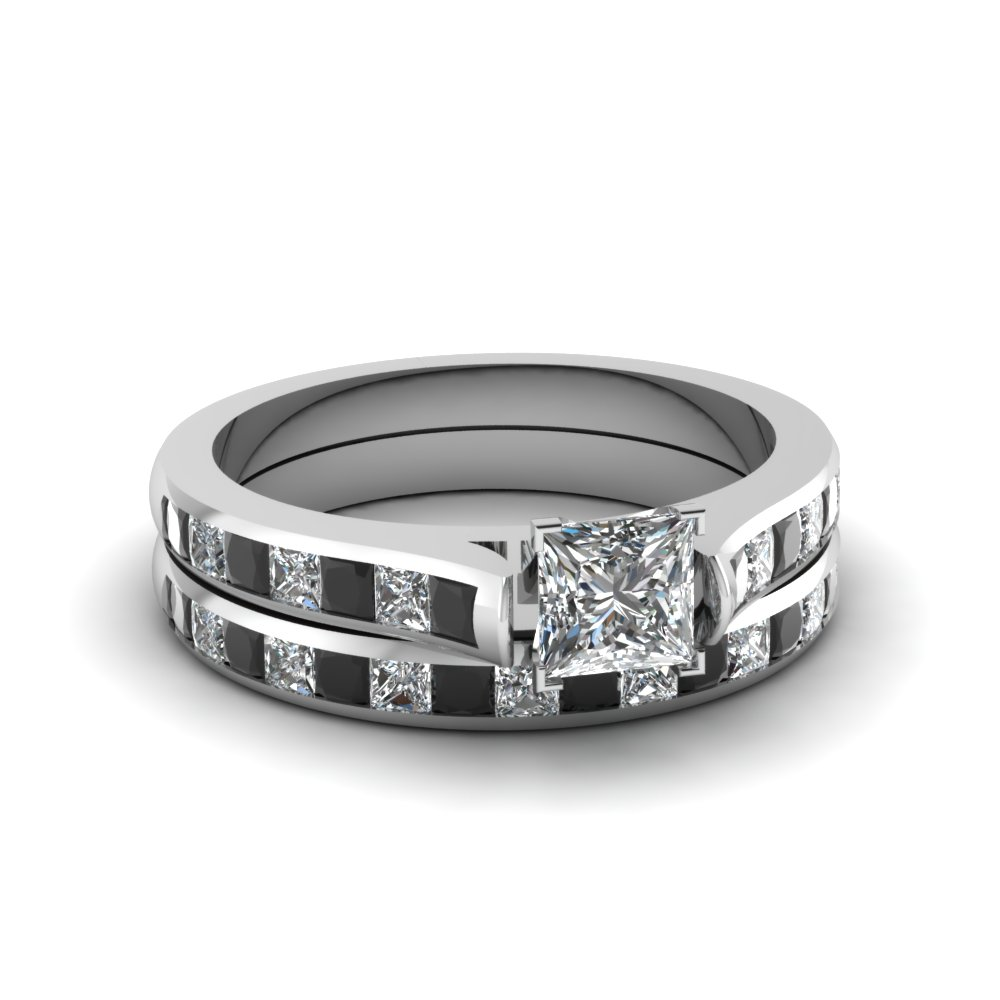 princess cut channel set wedding ring sets with black