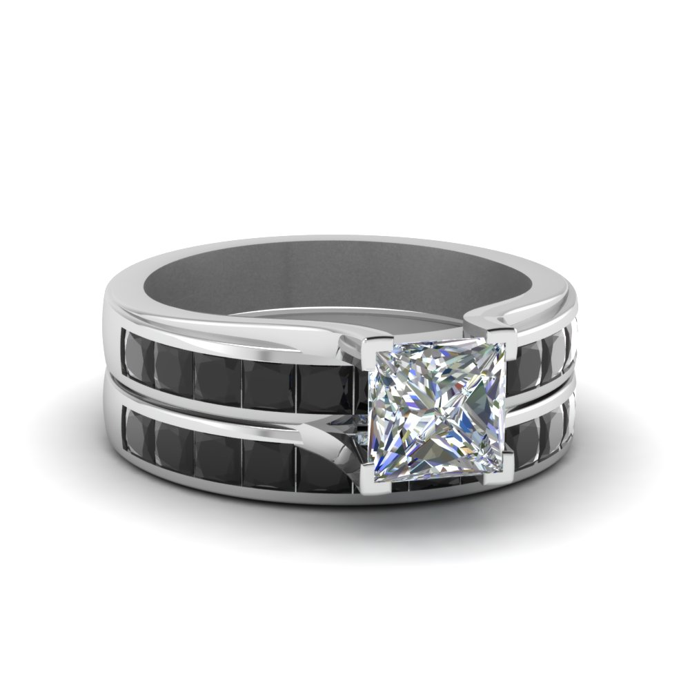 princess cut channel set black diamond wedding set in FD1048PRGBLACK NL WG
