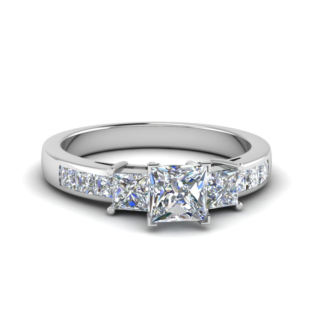 princess cut channel three stone moissanite engagement ring in 14K white gold FDENS205PRR NL WG