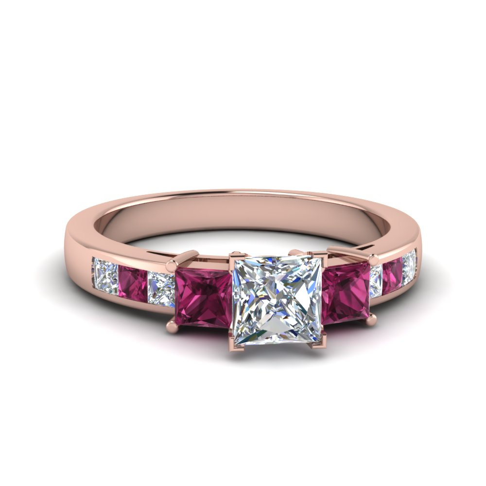 princess cut channel three stone diamond engagement ring with pink sapphire in 14K rose gold FDENS205PRRGSADRPI NL RG